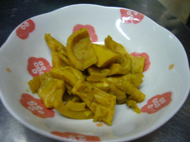 登米市登米産、唐竹(真竹)でカレー風味煮。。